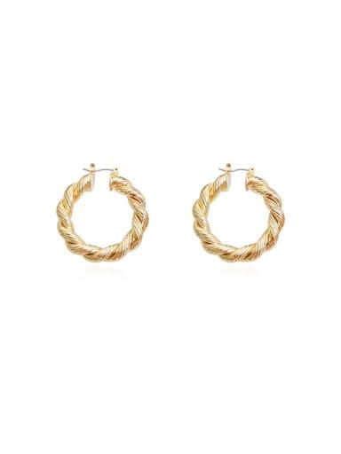 Brass Twist Round Vintage Hoop Earring