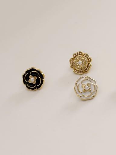 Brass Enamel Flower Vintage Stud Earring