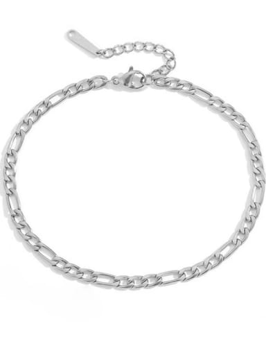 Steel color Stainless steel Irregular Minimalist Hollow Chain  Anklet