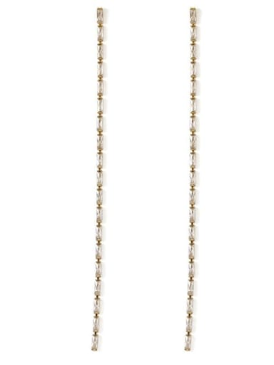 long Bronze Cubic Zirconia Tassel Minimalist Threader Earring