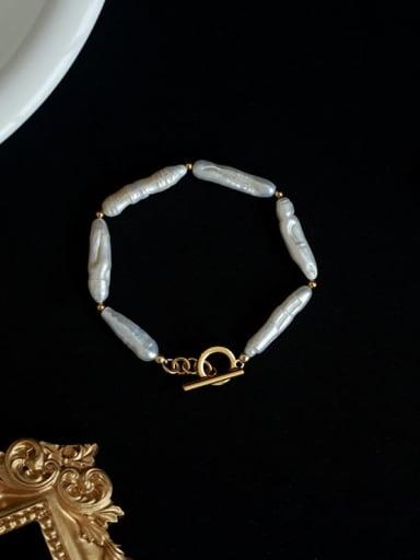 Brass Freshwater Pearl Irregular Minimalist Beaded Bracelet