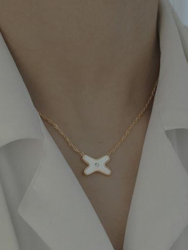 Brass Shell Cross Vintage Necklace