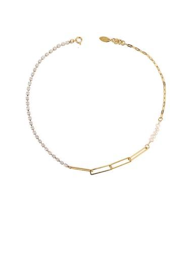 Gold pearl Zircon Necklace Brass Imitation Pearl Geometric Chain Minimalist Necklace