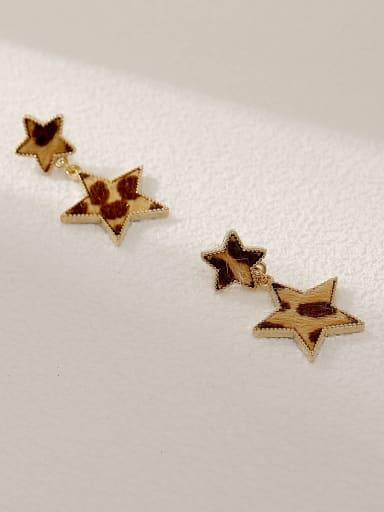 14k Gold Coffee Brass Star Vintage Drop Earring