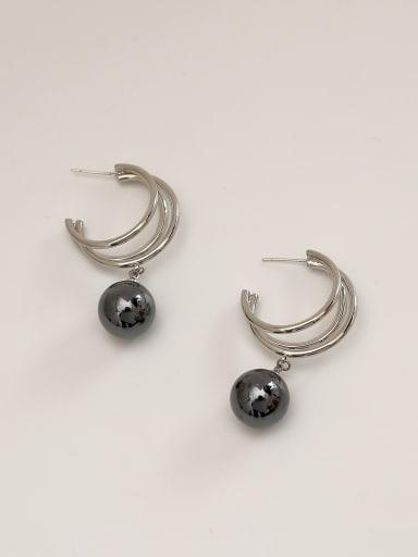 White K Brass Imitation Pearl Geometric Ethnic Stud Earring