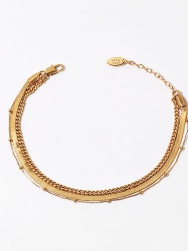 Multi layer chain Brass  Irregular Minimalist Anklet