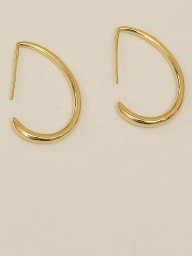 14K real gold Brass  smooth Geometric Minimalist Hook Earring