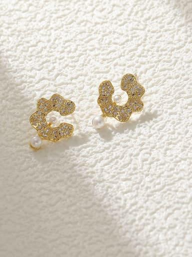 Brass Cubic Zirconia Flower Vintage Stud Earring