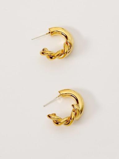 Brass Geometric Vintage Hoop Earring