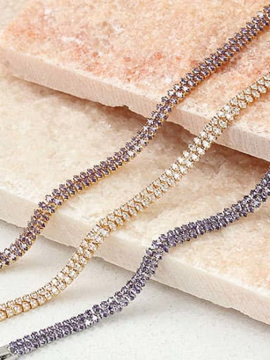 Brass Cubic Zirconia Geometric Minimalist Choker Necklace