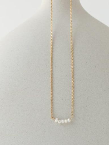 Brass Freshwater Pearl Irregular Vintage Necklace