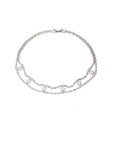 Platinum Brass Imitation Pearl Geometric Vintage Beaded Necklace