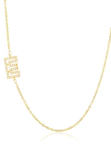E Brass Cubic Zirconia Letter Minimalist Necklace