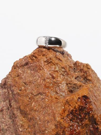 Brass Rhinestone Irregular Minimalist Band Ring