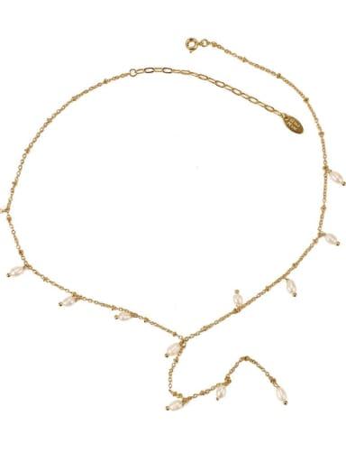 Brass Cubic Zirconia Tassel Vintage Lariat Necklace