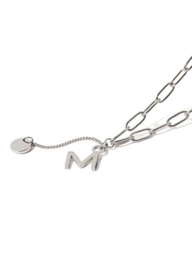 Titanium Steel Letter Vintage Lariat Necklace