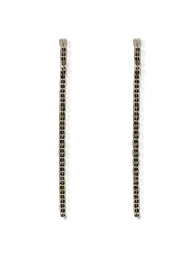 platinum Brass Cubic Zirconia Tassel Classic Threader Earring
