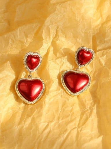 14K gold red Brass Enamel Heart Ethnic Drop Earring