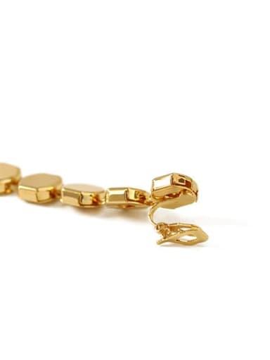 Golg Ear clip Brass  Smooth Geometric Vintage Drop Long Earring