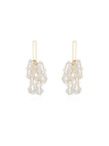 Copper Crystal Irregular Dainty Stud Earring