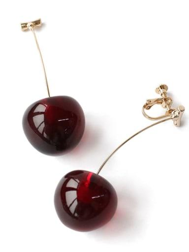 Brass Garnet Friut Cherry Minimalist Drop Earring