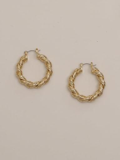 14K gold Brass Twist Round Vintage Hoop Earring