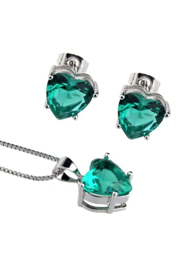 Platinum plated green Brass Heart  Cubic Zirconia Earring and Necklace Set