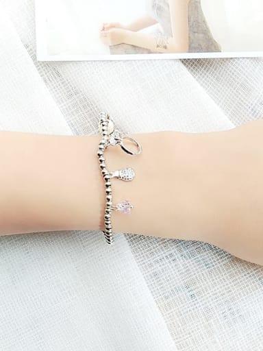 2 Alloy Cubic Zirconia Geometric Vintage Beaded Bracelet