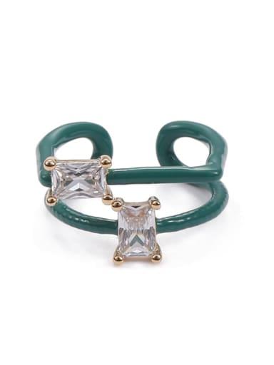 Double zircon Zinc Alloy Enamel Geometric Minimalist Stackable Ring
