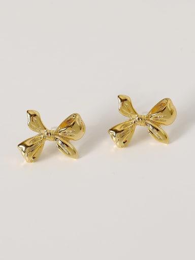 Brass Bowknot Cute Stud Earring