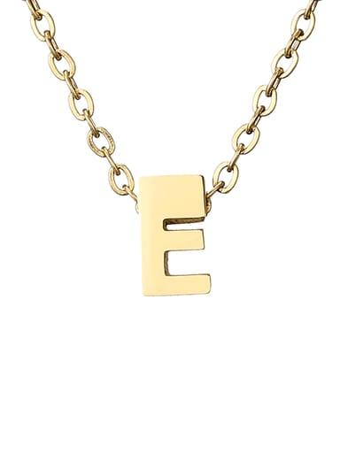 E 14K Titanium Letter Minimalist Initials Pendant Necklace