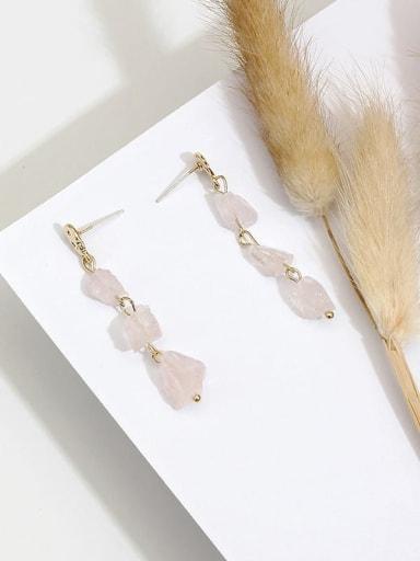 Pink Crystal Copper Crystal Irregular Dainty Drop Earring