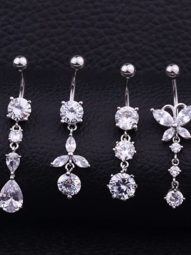 Stainless steel Cubic Zirconia Water Drop Hip Hop Belly Rings & Belly Bars