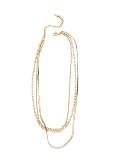Brass Cubic Zirconia Geometric Hip Hop Multi Strand Necklace