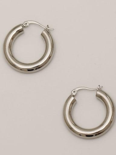 White K Brass  Smooth Geometric Vintage Hoop Earring