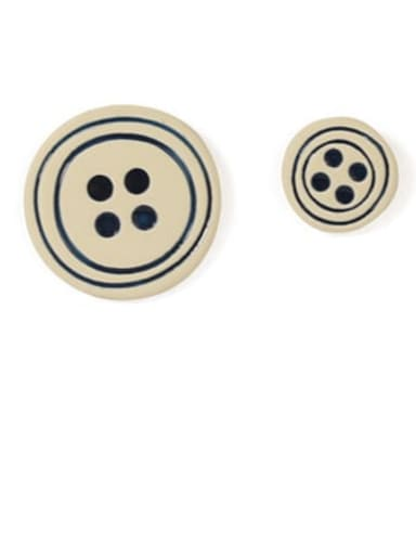 Light grey Earrings Alloy Enamel Geometric Cute  Candy color asymmetry Buttons Stud Earring