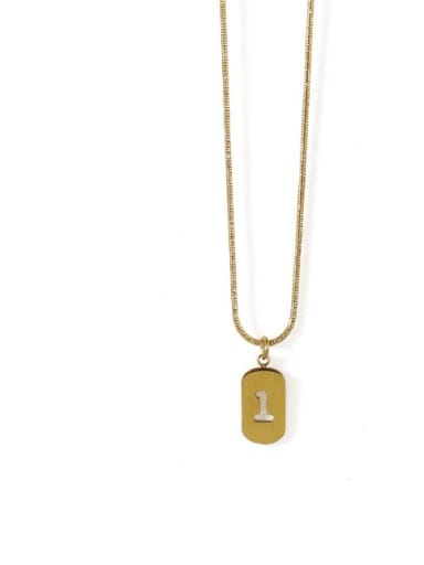 Gold 1 Titanium Steel Number Minimalist Pendant Necklace