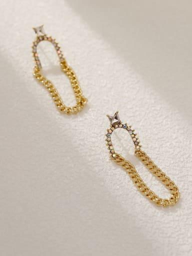 14k Gold Brass Geometric Vintage Threader Earring
