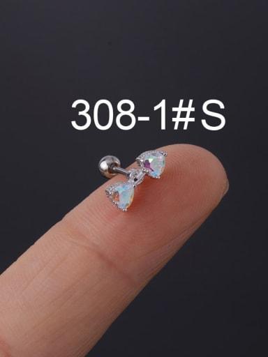 Brass Cubic Zirconia Multi Color Ball Stud Earring(Single)