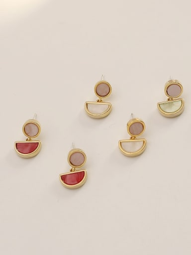 Brass Shell Geometric Ethnic Drop Earring
