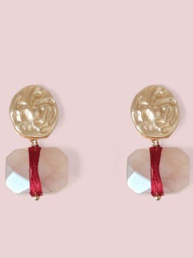 gules Alloy Zircon Geometric Ethnic Drop Earring