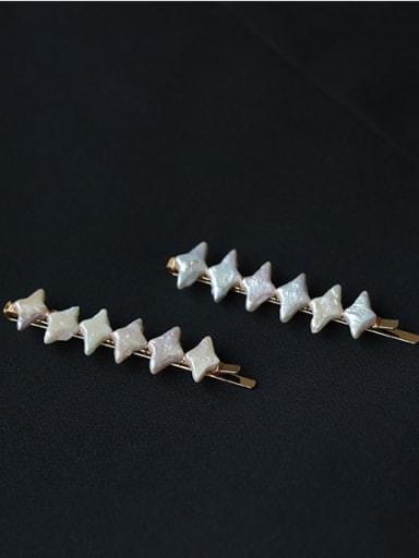 Brass Minimalist Geometric  Imitation Pearl Hair Pin