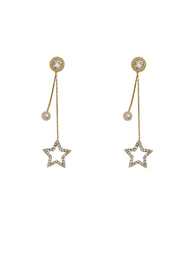 Brass Imitation Pearl Tassel Minimalist Drop Earring