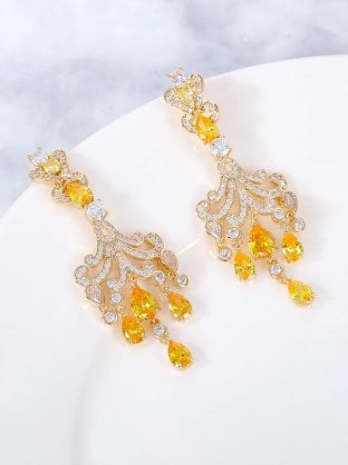 yellow Brass Cubic Zirconia Multi Color Water Drop Statement Drop Earring