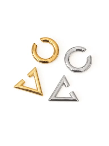 Brass Smooth Geometric Vintage Clip Earring