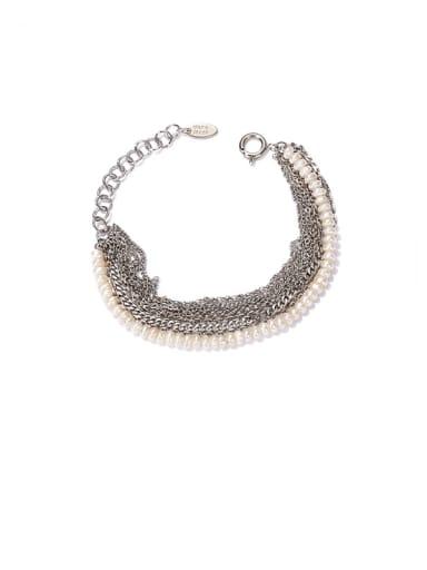 Platinum Brass Imitation Pearl Geometric Vintage Strand Bracelet