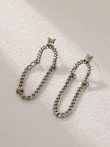 White K Brass Geometric Vintage Threader Earring