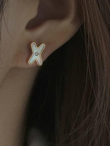 Brass Shell Letter Vintage Stud Earring