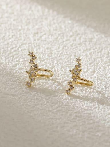 Brass Cubic Zirconia Star Cute Clip Earring