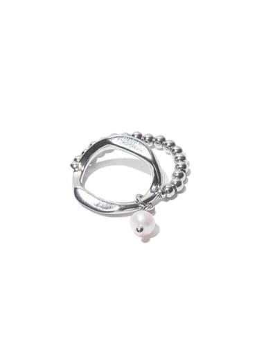 Brass Bead Geometric Hip Hop Stackable Ring